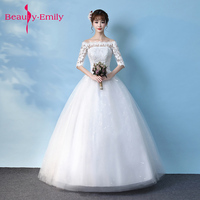 2018 New Spring And Summer Half Lace Sleeves With Simple And Concise Body Slim Bride Wedding