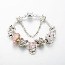 Annapaer marca jóias coração charme pulseira para as mulheres 2019 fino cristal bowknot pingente pulseiras para meninas presente b19019