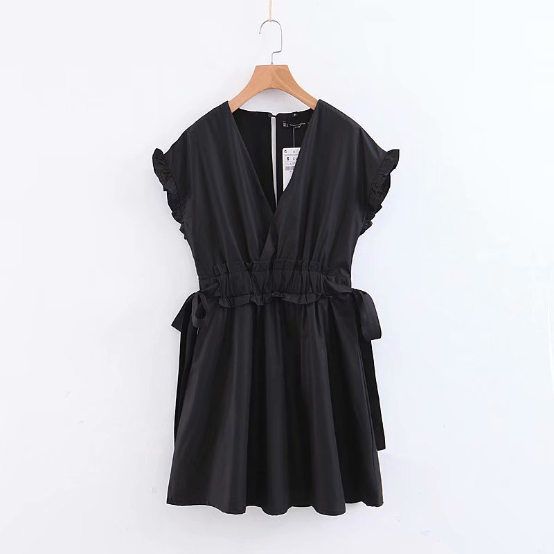 2019 New Women Fashion Cross V Neck Bowknot Black Mini Dress Female Butterfly Sleeve Ruffles Vestidos Chic Party Dresses DS2044