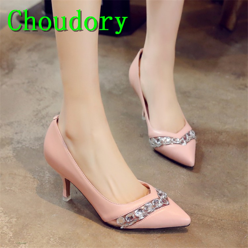 Choudory Air Mesh Solid New Casual High Quality Genuine Leather Shallow Women Shoes Crystal Slip-On Med Heels Pointed Toe Pumps