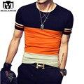 Plus Size 5XL Verão camiseta Homme O-pescoço de Algodão camisa Dos Homens T Slim Fit Curto-luva Camisetas Patchwork Homens roupas MT528