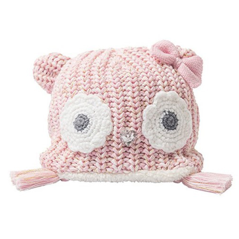 Baby Toddler Earflap Beanies For Boys Girls Hat Knitted Animal awl/bear/mouse Ears Lined Cap Winter Hand Knitting
