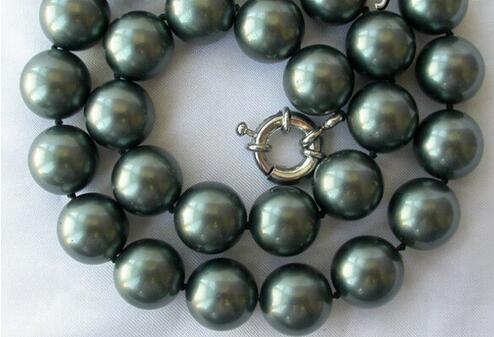 Hit sales> @@ stunning big 14mm Round Tahiti Black Necklace from South Sea pearl necklace AAA style fine noble natural S-bride