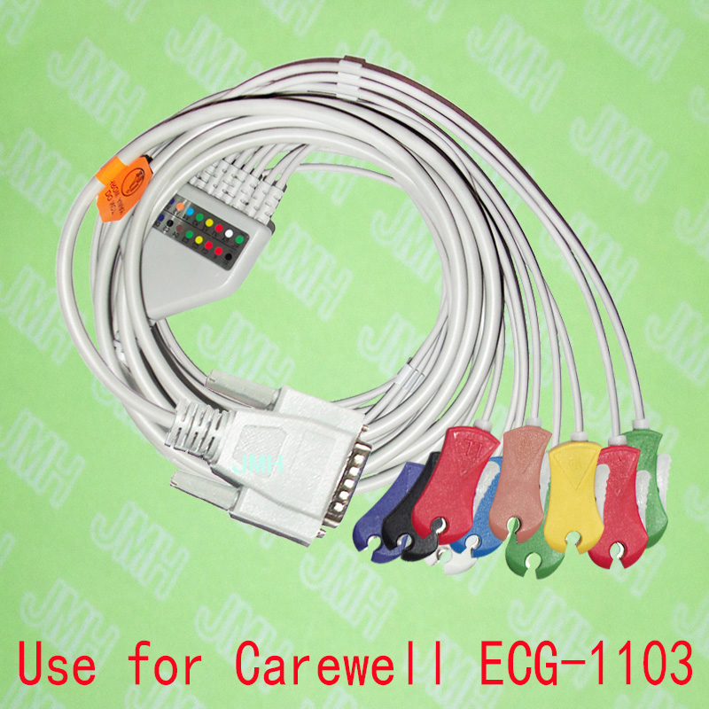 Compatible with 15PIN Carewell ECG-1103 EKG Machine the One-piece 10 lead ECG cable and clip leadwires,IEC or AHA. 2600mah new electrocardiogram machine battery for carewell ecg 1103b ecg 1103g ecg 1103l ecg 1106 hx 18650 14 4 2000