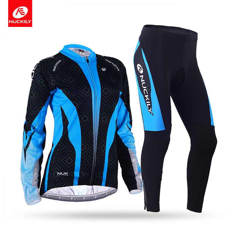 цена на NUCKILY Winter Womens Road Bike Jersey Long Sleeves Fleece Thermal Sublimation Cycling Jacket Suit GE007GF007