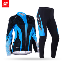 Nuckily Winter womens Long sleeves Fleece Thermal Sublimation Cycling Jacket suit GE007GF007