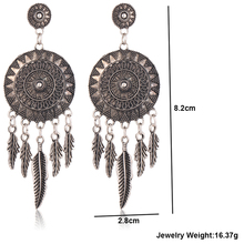 17KM Dream Catcher Hollow out Vintage Leaf Feather Dangle Earrings For Women Bohemia Style Earring Indian Jewelry New