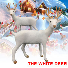 New Simulation Christmas white Reindeer Simulated Plush Standing Year Ornament For Home Decoration