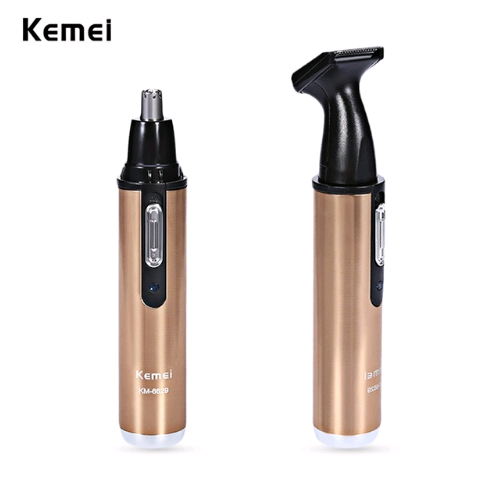 Kemei 2 in 1 Electric Nose Trimmer Rechargeable Women Face Care Beard Shaver for Nose & Ear Men's Ear Nose Hair Cutter Clean new kemei nose trimmer 3 in 1 rechargeable electric shaver face care shaving trimmer for nose