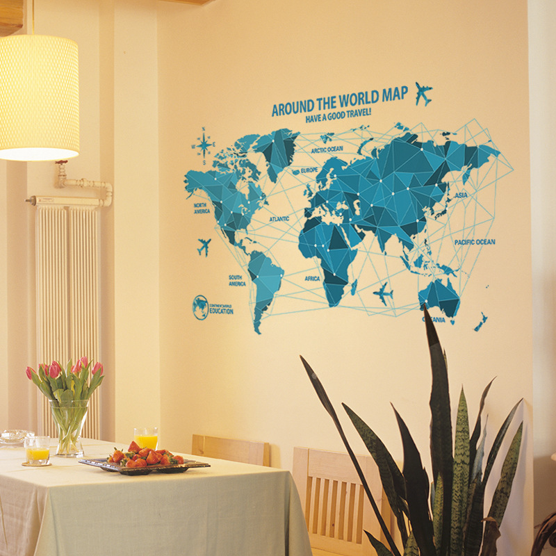 DIY blue origami world map airplane wall