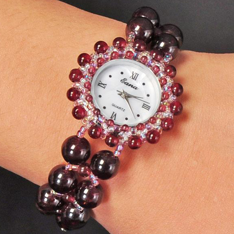 GOOSUU Zircon Gemstone Luxury Women's Bracelet Watches  Epozz Beauties Of Emperor Natural Garnet Beads Free S