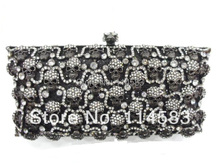 Crystal skull Lady Fashion Party BLACK hollow Metal Evening purse handbag clutch bag case