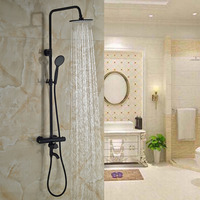 Luxury Oil Rubbed Bronze Shower Faucet Set Wall Mount Bathtub Thermostatic Shower W Hand Sprayer MIxer