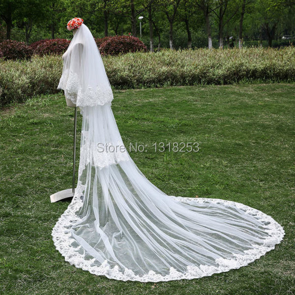 3 Meters 3T with Comb Wedding Veil Sequined Lace Edge Cathedral Bridal Accessories Long Trailing velos de novia voile mariage