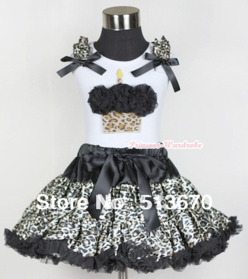 White Tank Top with Black Rosettes Leopard Birthday Cake with Leopard Ruffle & Black Bow & Black Leopard Pettiskirt MAMG559 baby golden brown pettiskirt golden ruffle brown bow white top shirt set 3 12m mapsa0289
