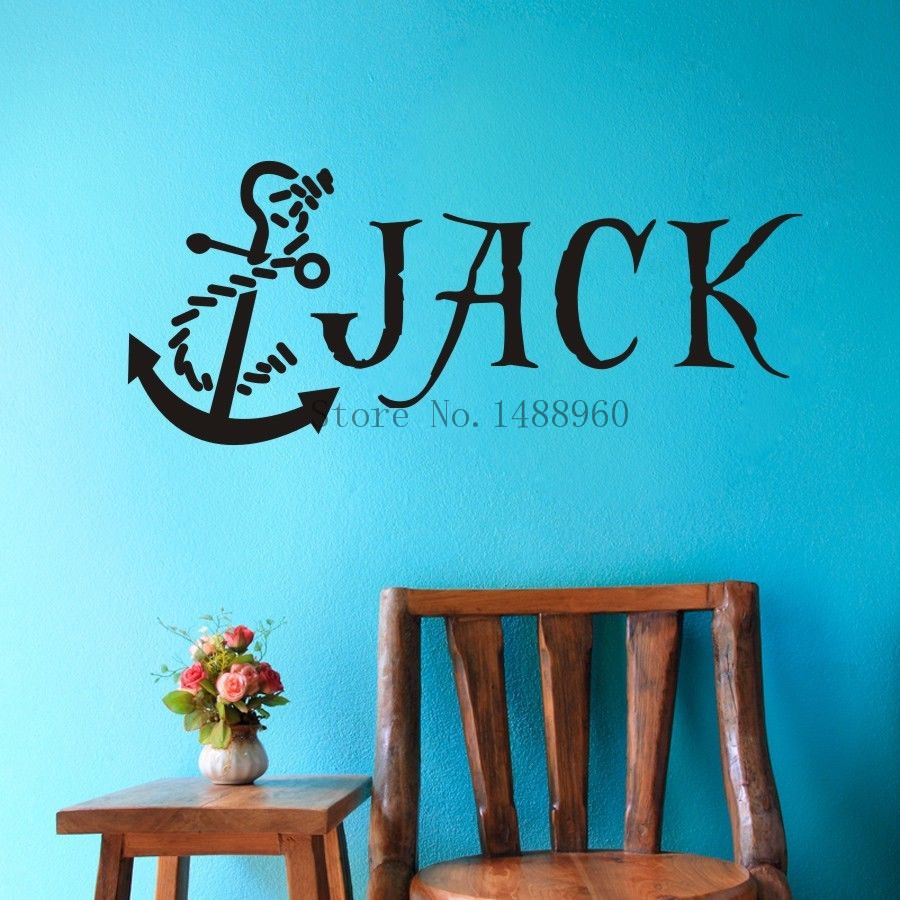 E79 anchor nautical pirate custom name wall decal wall for Boys wall art