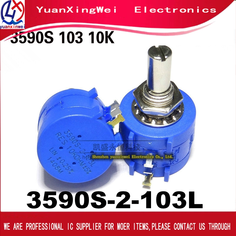 1pcs <font><b>3590S</b></font>-<font><b>2</b></font>-<font><b>103L</b></font> <font><b>3590S</b></font> 10K ohm Precision Multiturn Potentiometer 10 Ring Adjustable Resistor image