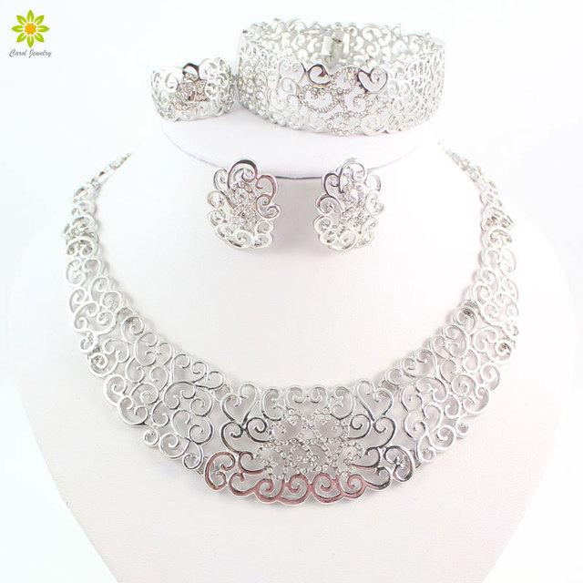 Conjuntos de jóias de casamento mulheres africano contas de cristal colares brincos conjunto Collare