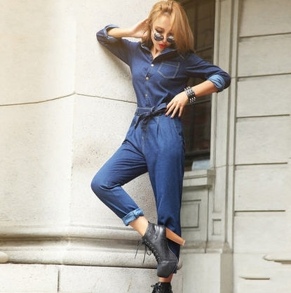 American sexy slim jumpsuit coveralls – long sleeve denim jumpsuit