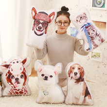 Creative dog plush pillow personality 3 d simulation cat double-sided printing  cushion for leaning on of lovely doll