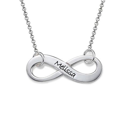 Innovative Products Women Stainless Steel Engravable Name Infinity Pendant Necklace