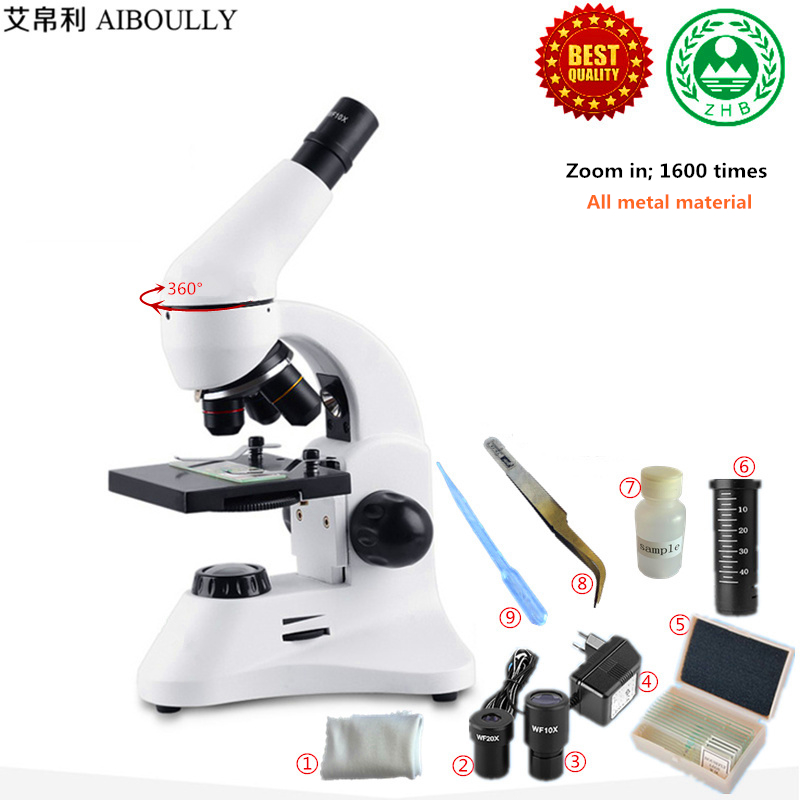 AIBOULLY 1600 Times Magnification Of Scientific Experiments In Children's Microscope Animal And Plant Cell Blood Analysis
