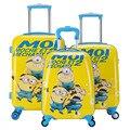 Boys Cute Minions Suitcase On Wheels/Anime Doraemon Hardside Trolley Case Maleta/Kids Cartoon Despicable Me School Luggage Bags