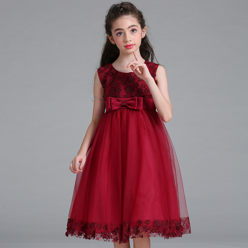 14 colors Girls Wedding Party Dress Children Clothing Princess Dresses With Bow Sleeveless summer baby clothes tutu dresses 2-8T  summer princess o neck embroidery bow clothes children girls crown print dresses wholesale sleeveless boutique clothing 5pcs lot
