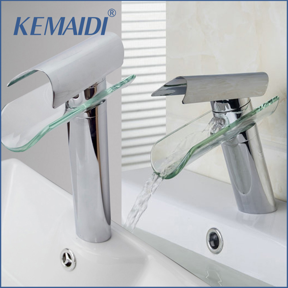 KEMAIDI Glass Waterfall Spout Imperial Crown Deck Mount Single Handle Chrome 8229 1 Bathroom Bacia Torneira