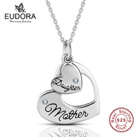 Eudora Genuine 925 Silver For Mom And Daughter Heart To Heart For Love Pendant Necklaces Sterling