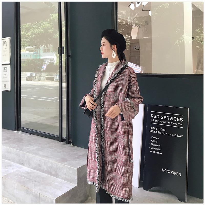 Vintage Woolen Trench Coat Plaid Tassel Autumn Winter Turn-down Collar Long Style Overcoat With Belt Long Casaco Feminino