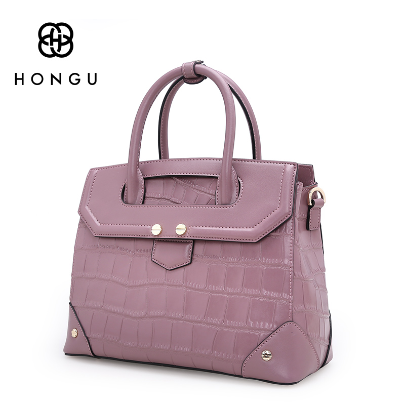 Здесь продается  HONGU Fashion Girl Natural Cowhide Leather Bag Women Handbags Shoulder Crocodile Pattern Versatile Big Ladies Crossbody Bag Tote  Камера и Сумки