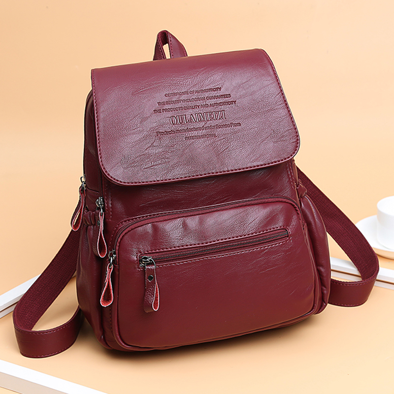 Image 3 - 2019 Women High Quality Leather Backpacks Female Shoulder Bag Sac a Dos Ladies Travel Bagpack Mochilas School Bags For Girls-in Backpacks from Luggage & Bags