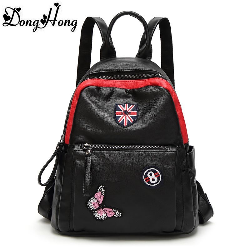 Famous Brand Designer Female Backpack Women Genuine Leather Backpack American Fashion BagPack Preppy Style School Bag