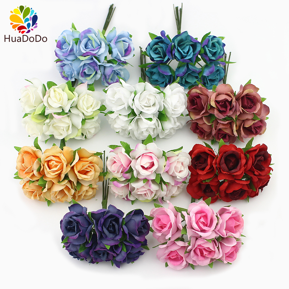 6pcs 2cm silk rose artificial artificial flower bouquet for Decorative flowers for crafts