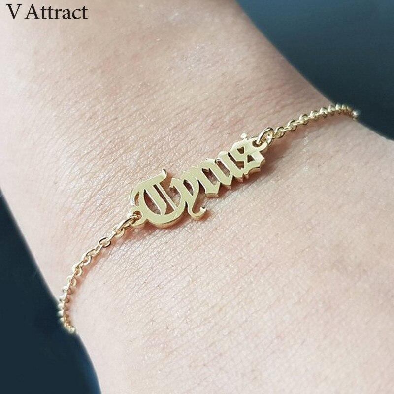 V Gewinnen Kinder Namen Pulseira Personalisierte Schmuck Gold Alten Englisch Name Armbänder Für Frauen Brautjungfer Geschenk Typenschild Hand Link