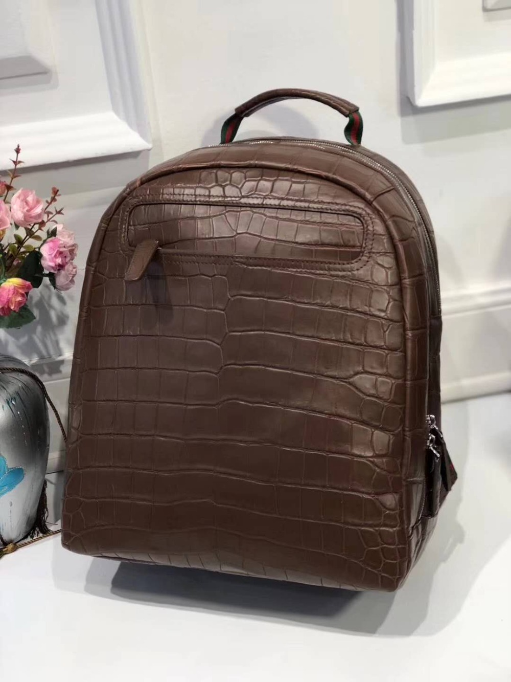100% genuine real crocodile belly skin matt water dyeing crocodile leather men daily backpack bag big size dark blue brown red