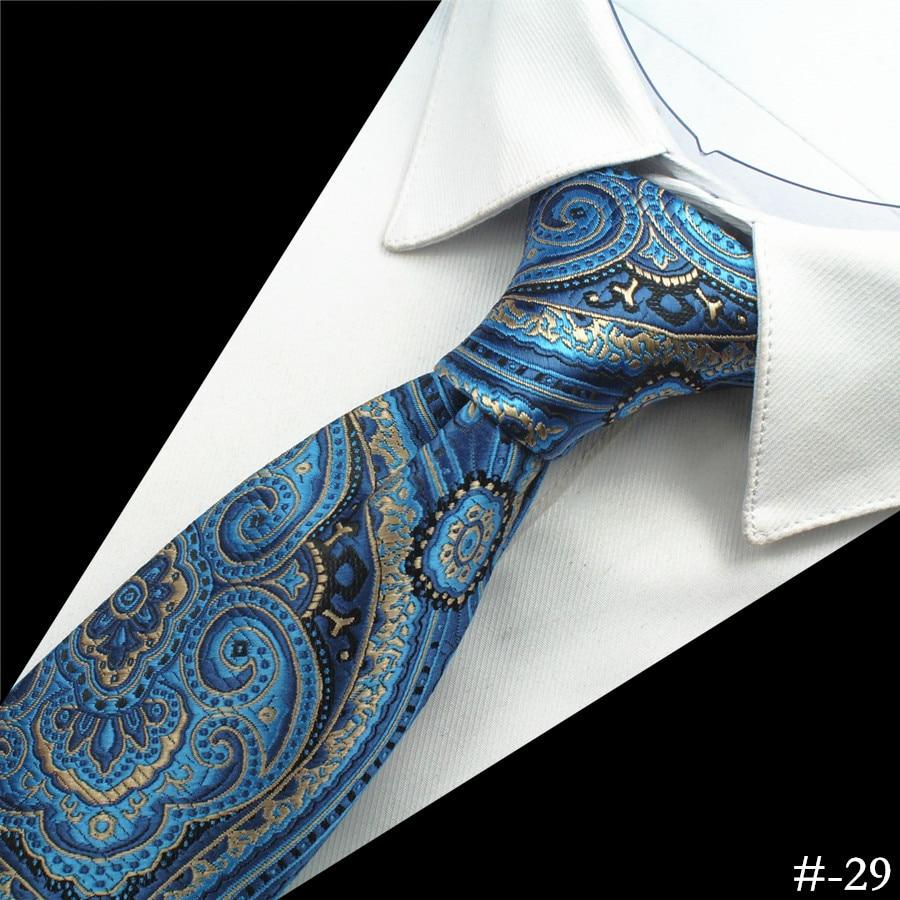 GUSLESON Silk Men Tie 8cm Plaid Paisley Neck Hubungan untuk Lelaki - Aksesori pakaian - Foto 4