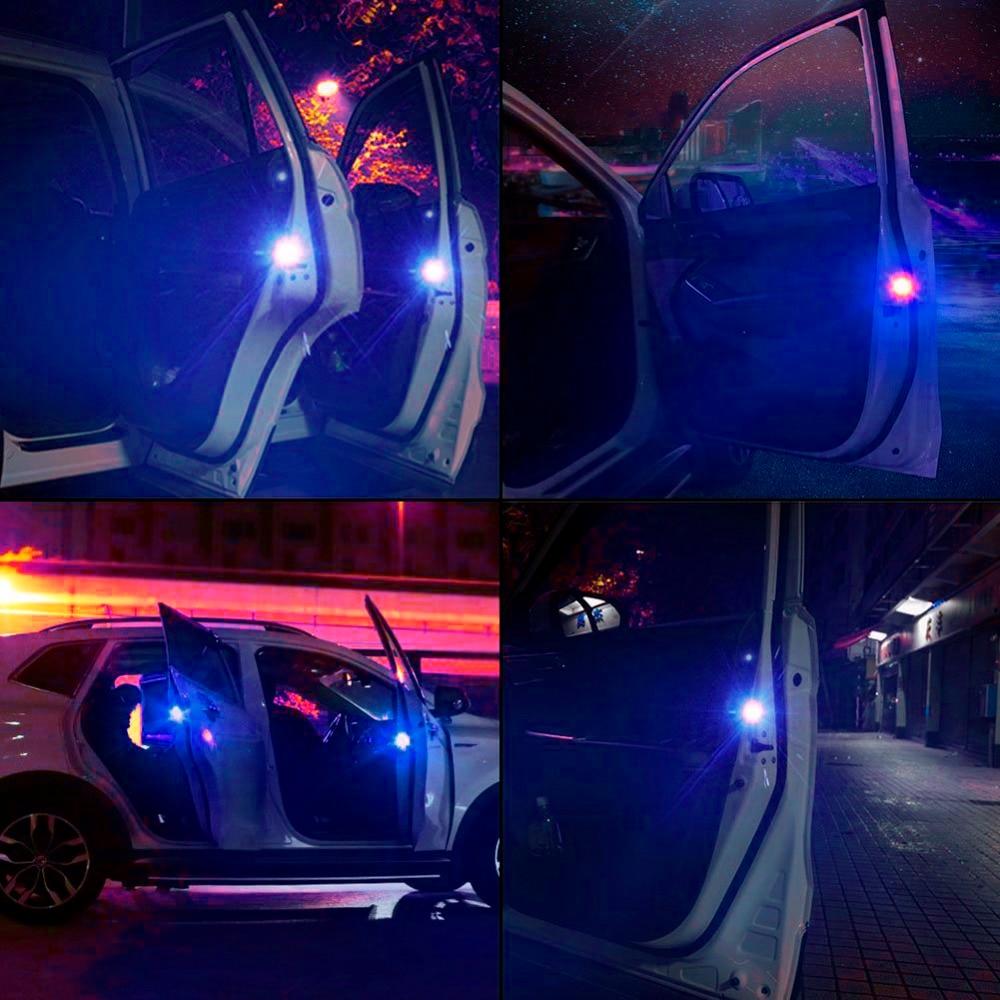 4pcs Car-styling Blue Car Warning Light Strobe Light Door Light Traffic Signal Lamp For BMW Volkswagen Citroen Toyota Audi