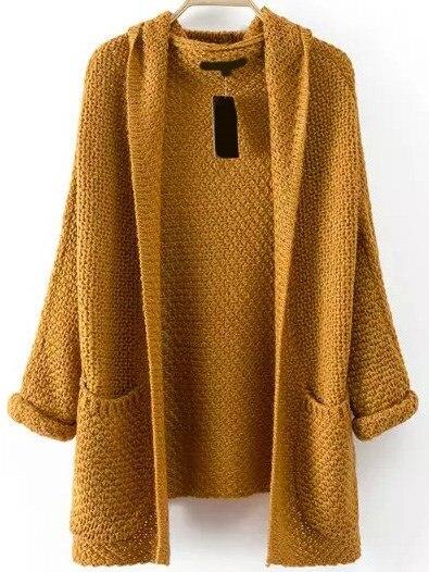 font b Women b font Casual Vintage Long Sleeve Pockets Chunky Knit Coat
