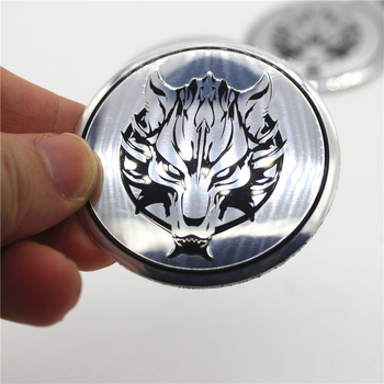 4pcs Car Wolf Head Wheel Center Hub Caps Cover Rim Sticker Emblem Badge Styling For VW BENZ BMW AUDI OPEL Renault TOYOTA Skoda image
