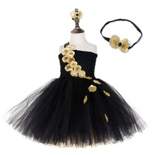 Black Elegant Girls Polka Dot Mesh Patchwork Dress for Child Gold Florals One Shoulder Sleeveless Tutu Dress Piano Perform Cloth raw edge florals dress