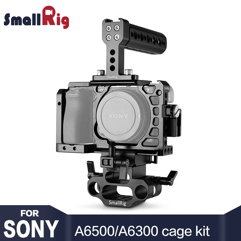 SmallRig A6500 Cage Camera Accessorie Kit for Sony A6500 Camera with Top Handle, HMDI Cable Clamp, DSLR 15mm Base Support - 1986
