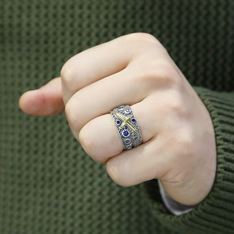Véritable S925 argent or couleur croix hommes anneau de haute qualité Thai argent bleu étoilé rétro ouvert anneau cadeau d'anniversaire bijoux en gros - 5