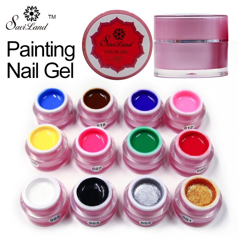 Saviland Краски гель Очаровательная Pure Цвета UV LED ногтей Краски ing гель Цвет для пальцев Дизайн ногтей Дизайн Гели для ногтей лак