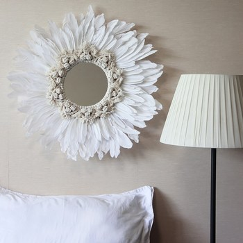 50CM Tapestry Feather Glass Mirror Creative Art Decoration Round Mirror Living Room Wall Wall Hanging Mirror R1627