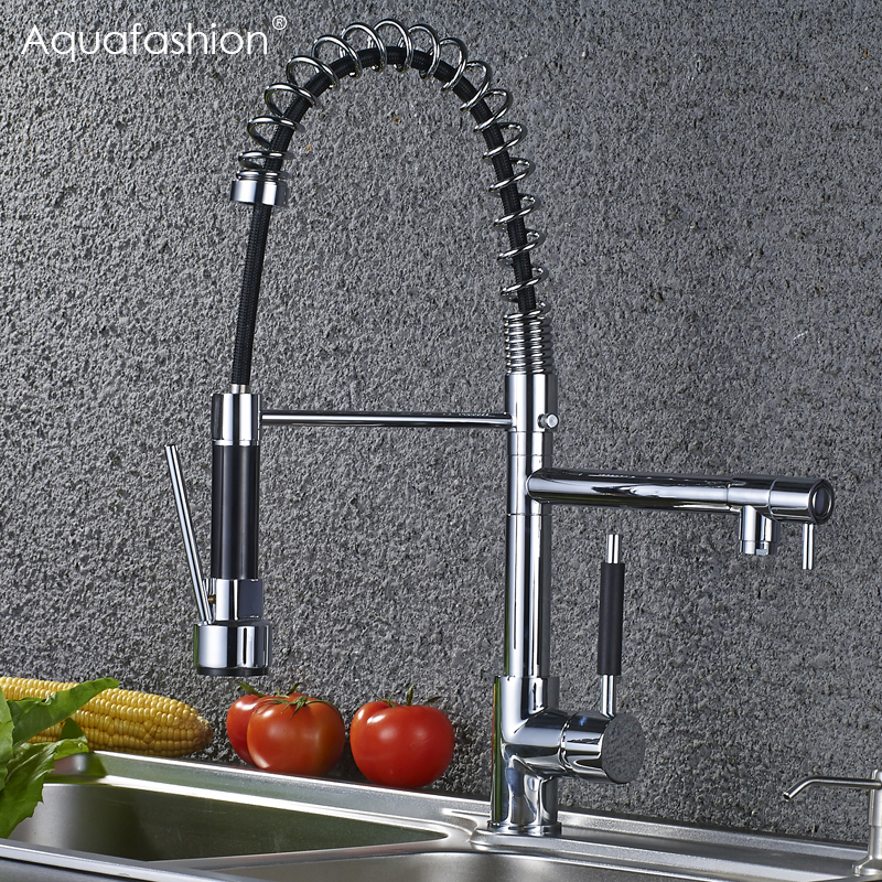 Luxury Commercial Style Kitchen Faucet Flexible Dual Spout Kitchen Sink Faucet Single Handle Hot and Cold Kitchen Sink Mixer Tap jade style golden color kitchen sink faucet single handle mixer tap hot and cold water