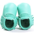 Romirus mocasines moccs borlas newborn baby girl zapatos de cuero de la pu Zapatos Inferiores suaves Para Niños Bebés y Niños Pequeños de Menta verde