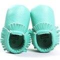Romirus mocassins borlas moccs bebê recém-nascido menina sapatos de couro pu Sapatos Fundo macio Para Crianças Meninos Da Criança Infantil-Mint verde