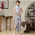 BooLawDee upgrade vintage print Chinese cheongsam qipao short sleeve for woman 4 season wear blue orange rose gray green T11009